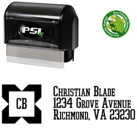 PSI Pre-Ink Square Notch College Personal Address Ink Stamp