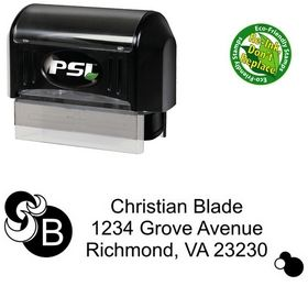 PSI Pre-Inked Circles Arial Personalized Address Ink Stamp