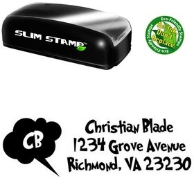 Slim Pre-Inked Grinched Address Rubber Stamp