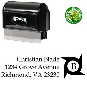PSI Pre-Inked Initial Book Antiqua Monogrammed Address Rubber Stamp