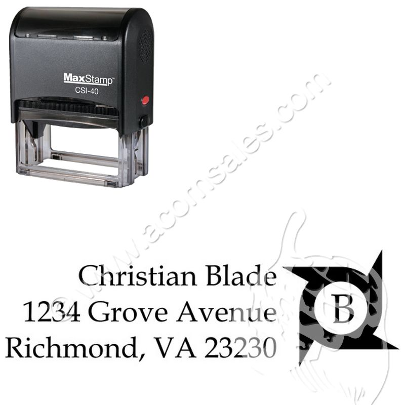 self ink initial stamp monogrammed address rubber stamps