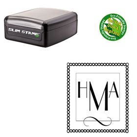 Slim Pre Inked Parisian Custom Made Monogrammed Rubber Stamp