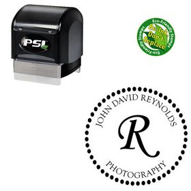 PSI Pre-Inked Monotype Corsiva Personalized Monogrammed Rubber Stamp