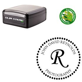 Slim Pre-Inked Monotype Corsiva Personalized Monogrammed Rubber Stamp