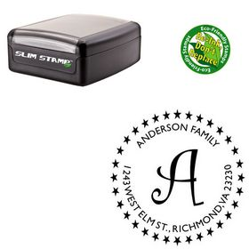 Slimline Pre-Inked Curlz Custom Made Address Monogram Stamp