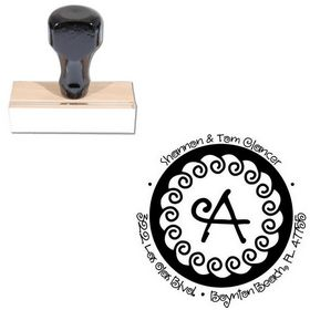Curly Q Personal Address Monogram Stamp