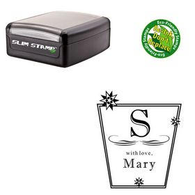 Slimline Pre-Inked Imprint Shadow Personalized Monogram Rubber Stamp