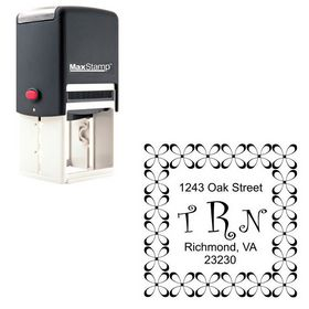 Self-Ink Curlz Monogram Address Stamp