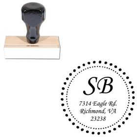 Monotype Corsiva Customized Monogram Rubber Stamp