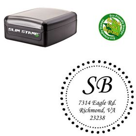Slimline Monotype Corsiva Customized Monogram Rubber Stamp