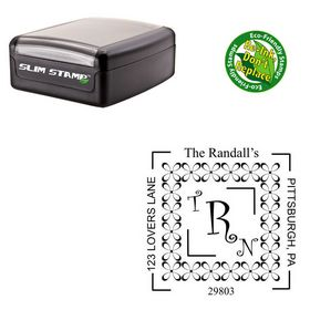Slimline Pre-Inked Curlz Personalized Wedding Monogram Stamp