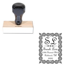 French Script Customized Monogramed Stamp