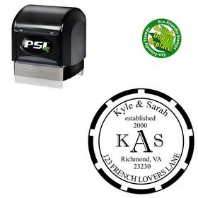 PSI Pre-Inked Imprint Shadow Wedding Monogram Stamp