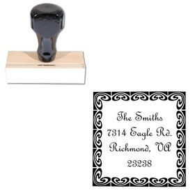 French Script Custom Monogram Address Stamp