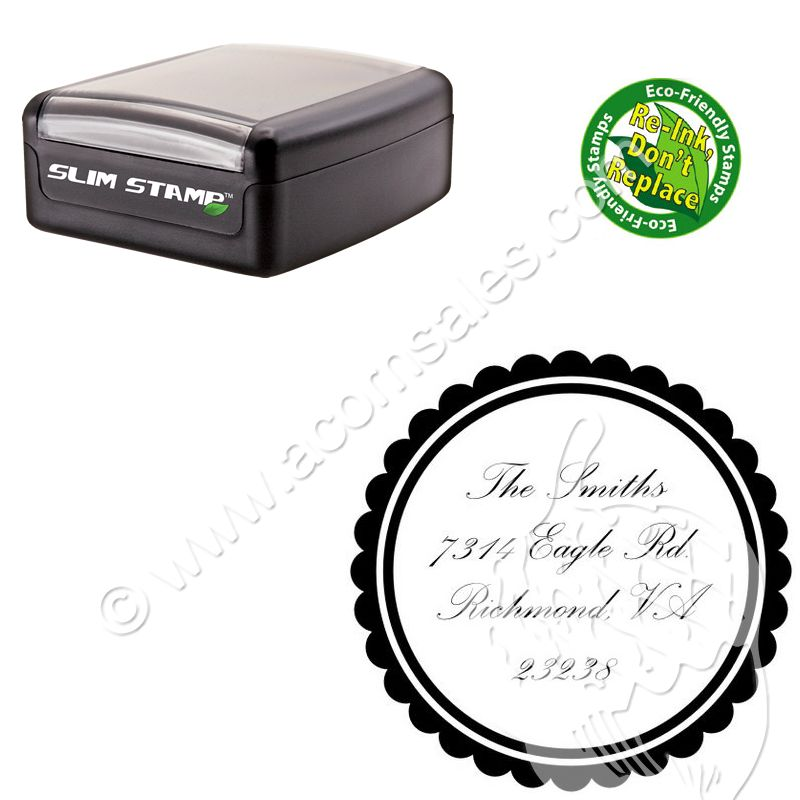 Customized Compact Palace Script Round Rubber Stamp