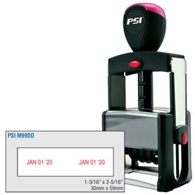 PSI Self Inking Double Date Stamp 1-3/16 x 2-5/16