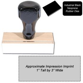 Regular Black Neoprene Rubber Stamp Size 1 x 3
