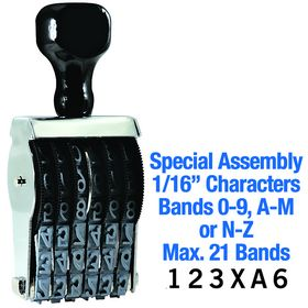 Special Assembly Line Number Stamp 1/16 Character Size