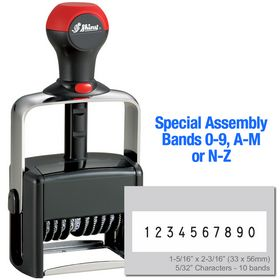 Special Assembly 10 Wheel Shiny Heavy Duty Number Stamp 5/32 Characters with Plate