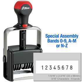 Special Assembly 8 Wheel Shiny Heavy Duty Number Stamp 3/16 Characters with Plate