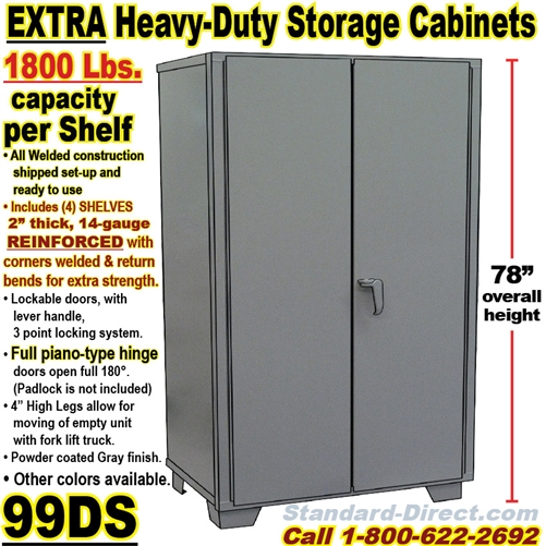 steel storage cabinets 99ds rh standard direct com heavy duty metal storage cabinet with doors jumbo heavy duty metal storage cabinet - 48 x 24 x 78
