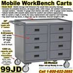 8 DRAWER MOBILE WORKBENCH CARTS 99JD