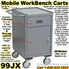 NARROW MOBILE WORKBENCH DRAWER CART 99JX