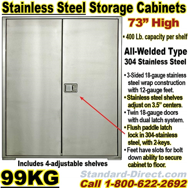 STAINLESS STEEL STORAGE CABINETS 99KG