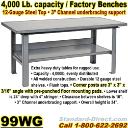EXTRA HEAVY DUTY WORK BENCHES / 99WG