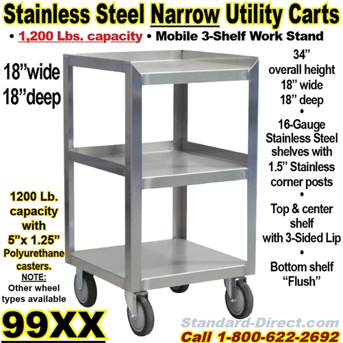 STAINLESS STEEL CARTS XX - 18 wide stainless steel work table