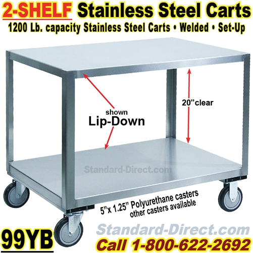 STAINLESS STEEL CARTS YB - Stainless steel table with lip