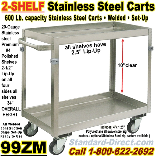 STAINLESS STEEL CARTS ZM - Stainless steel table with lip