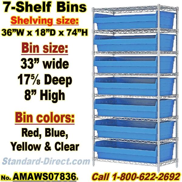 7-Shelf Bin Unit Wire-Shelf / AMAWS07836