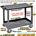 2-Shelf Plastic Cart / LXEC21HD