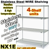Stainless Steel Wire Shelving 4-Shelf / NX1E