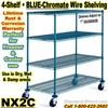 Blue Chromate Wire 4-Shelf Trucks / NX2C