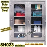 Extreme Duty Stainless Steel Clear view Doors Storage Cabinets / SH023