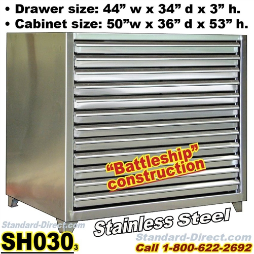 Extreme Duty Stainless Steel Flat File Cabinets / SH030, Extreme Duty  Painted Flat File Cabinets / SH030