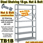 18ga. OPEN STEEL SHELVING/N&B / TB1B