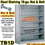 18ga. CLOSED STEEL SHELVING/ N&B / TB1D