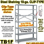 18ga. OPEN STEEL SHELVING/ CLIP / TB1F