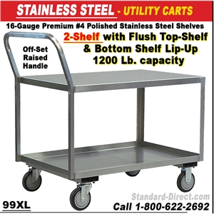 STAINLESS STEEL CARTS - Stainless steel table with lip