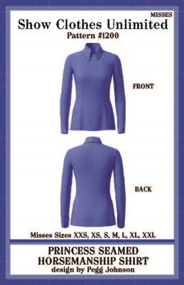 HMS show shirt, princess seamed show shirt, Horsemanship shirt, HMS shirt pattern, sewing pattern, sew your own show clothes, Show Clothes Unlimited, Pegg Johnson, Show Clothes Unlimited patterns, Show Clothes Unlimited Equestrian Wear Patterns, Western