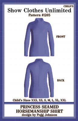 HMS show shirt, princess seamed show shirt, Horsemanship shirt, Hms shirt pattern, sewing pattern, sew your own show clothes, Show Clothes Unlimited, Pegg Johnson, Show Clothes Unlimited patterns, Show Clothes Unlimited Equestrian Wear Patterns