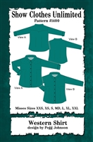 Button front shirt, snap front shirt, cowboy shirt, ranch riding,  shirt with yokes, western shirt,  cutting, reining,  english shirt, Show Clothes Unlimited, Pegg Johnson, Show Clothes Unlimited patterns, Show Clothes Unlimited Equestrian Wear patterns