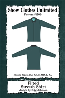 fitted front zip western shirt pattern,  rail shirt pattern, sewing pattern, sew your own show clothes, Show Clothes Unlimited, Pegg Johnson, Show Clothes Unlimited patterns, Show Clothes Unlimited Equestrian Wear patterns