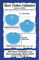 Rodeo Queen and Princess competition necklines, sewing pattern, sew your own show clothes, Show Clothes Unlimited, Pegg Johnson, Show Clothes Unlimited patterns, Show Clothes Unlimited Equestrian Wear pattern