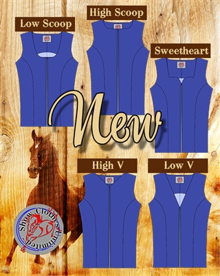 Western show vest, alternate necklines, princess seamed vest, vest pattern, sewing pattern, sew your own show clothes, Show Clothes Unlimited, Pegg Johnson, Show Clothes Unlimited patterns, Show Clothes Unlimited Equestrian Wear pattern