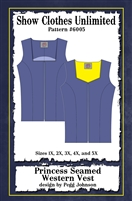 Western show vest, princess seamed vest, vest pattern, sewing pattern, sew your own show clothes, Show Clothes Unlimited, Pegg Johnson, Show Clothes Unlimited patterns, Show Clothes Unlimited Equestrian Wear pattern