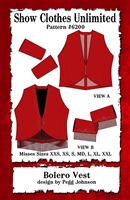 Bolero vest, bolero vest pattern, western vest pattern,  ranch riding, sewing pattern, sew your own show clothes, Show Clothes Unlimited, Pegg Johnson, Show Clothes Unlimited patterns, Show Clothes Unlimited Equestrian Wear pattern